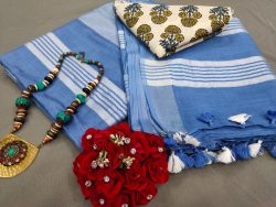 Sapphire blue Handloom cotton linen saree with printed cotton blouse