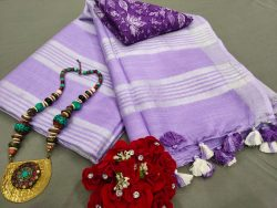 Blue-violet Handloom cotton linen saree with printed cotton blouse