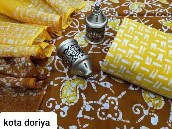 Chocolate And yellow cotton salwar suit with kota dupatta