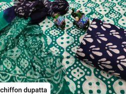 Jungle green pure chiffon chunni cotton salwar suit