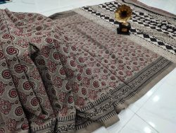 Dark silver Cotton mulmul saree with blouse