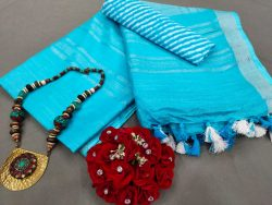 Cyan Handloom cotton Linen saree with printed cotton blouse
