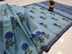 Baby blue Cotton mulmul saree with blouse