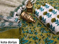 Pear And white cotton salwar suit with kota dupatta