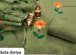 Superior quality Olivine pure cotton suit with kota doria dupatta set