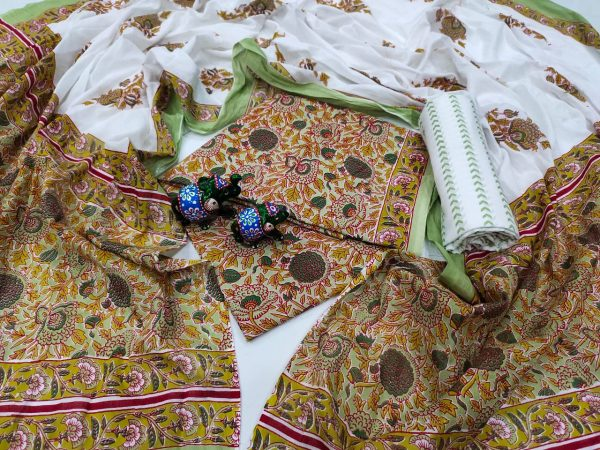 Traditional brown And white pure cotton dupatta suit set