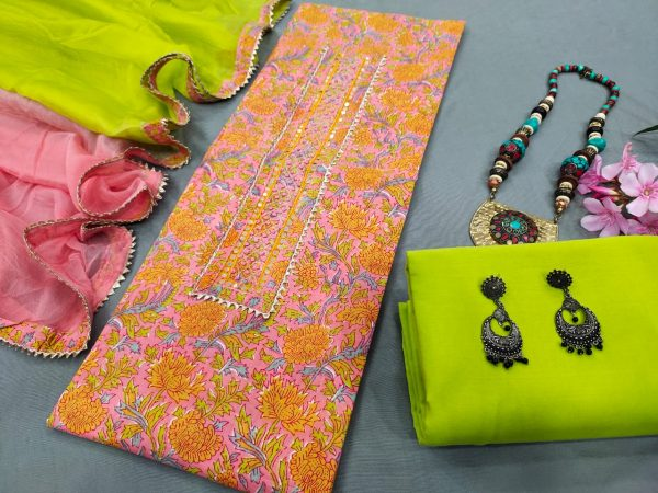 Pink floral print Gota Embroided cotton suit with chiffon dupatta