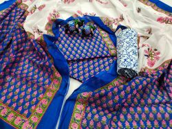 Persian blue and white Cotton salwar kameez set with mulmul dupatta