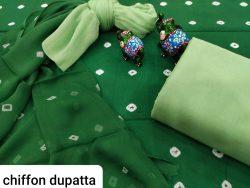 Green pure chiffon chunni cotton salwar suit