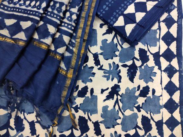 Navy blue ethnic wear ladies Salwar suit with chanderi dupatta