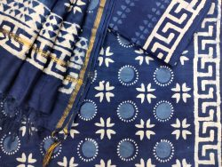 Navy blue ethnic wear ladies suit with chanderi dupatta