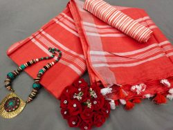 Red-Orange cotton linen saree with printed cotton blouse