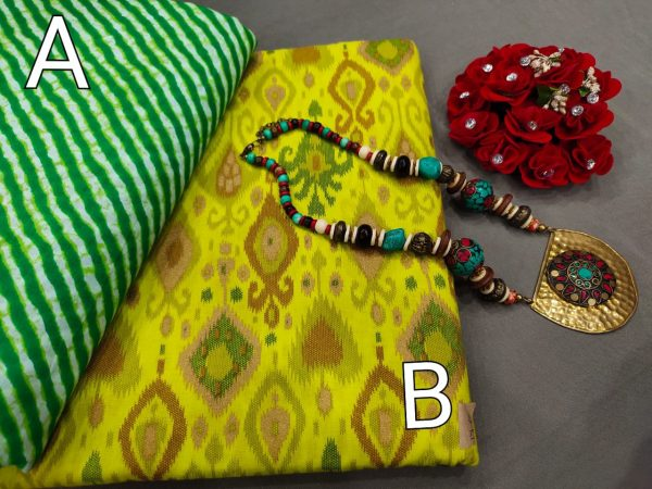 Lime and green Pure cotton ethnic wear running material set