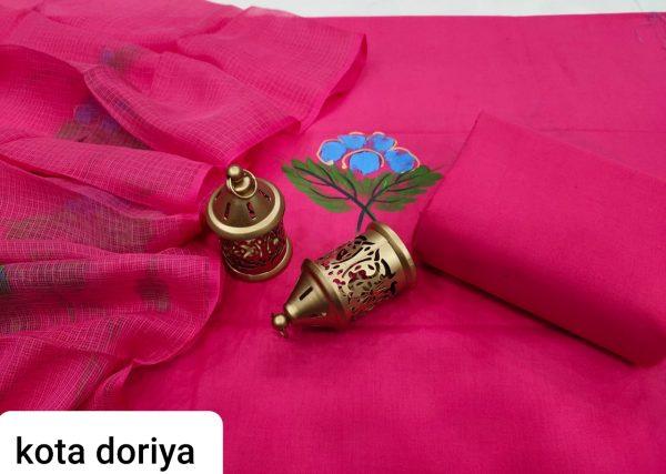 Magenta rose Hand painted cotton salwar kameez suit with kota doria dupatta