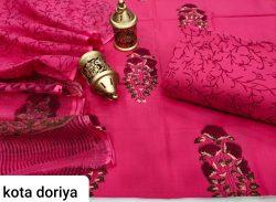 jaipuri Rose pure cotton suit with kota doria dupatta set