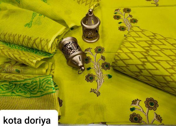 Lemon-Lime cotton suit with kota doria dupatta set