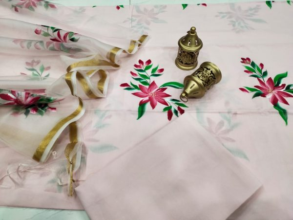 Superior quality Light Peach Hand painted Cotton suit with organza dupatta