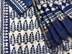 Blue cotton ethnic wear ladies suit with chanderi dupatta
