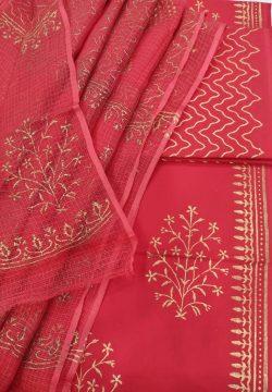 Red crimson cotton suit with kota doria dupatta set