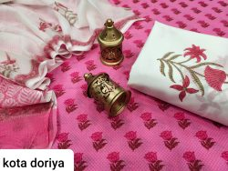 Beautiful pink and white pure cotton suit with kota doria dupatta set