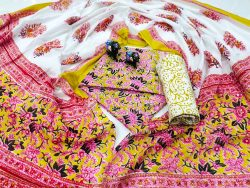 Magenta and white Cotton mulmul dupatta set with salwar kameez set