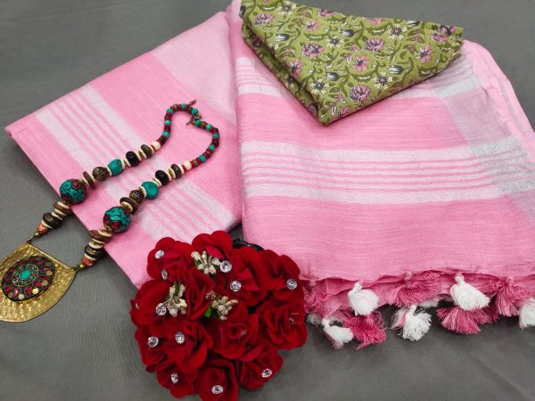 Pink Handloom cotton linen saree with printed cotton blouse