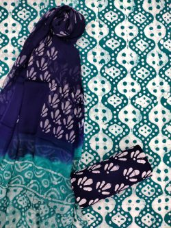 Teal And white ethnic wear salwar suits with chiffon dupatta
