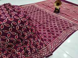 Deep Rouge Blush pure cotton mulmul saree with blouse