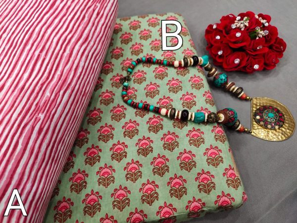 Jungle green and Pink cotton ethnic wear running material set