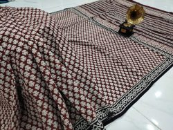 Maroon Cotton mulmul saree with blouse