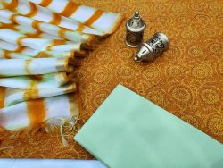 Traditional Marigold and white Cotton suit with kota silk dupatta