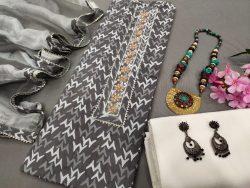 Dark Silver Cotton printed gota hand work suit set