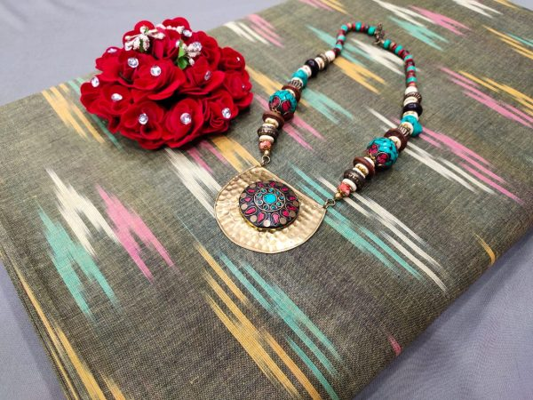 Olivine pure ikkat for indian ethnic wear dress material
