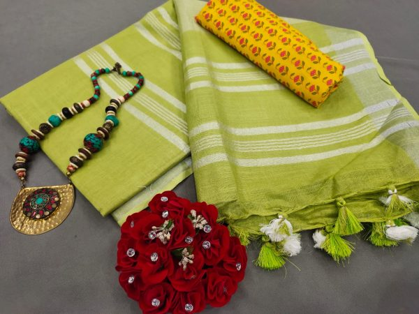 Lime Handloom cotton Linen saree with printed cotton blouse