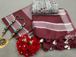 Burgundy Handloom linen saree online shopping
