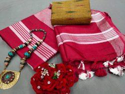 Ruby Handloom linen saree online shopping