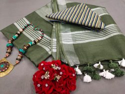 Olive Handloom cotton linen saree with printed cotton blouse