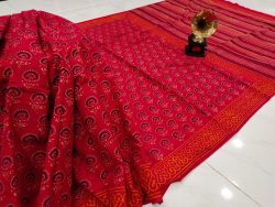 Red crimson Cotton saree with blouse