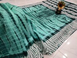 summer wear Aquamarine and teal Cotton mulmul saree