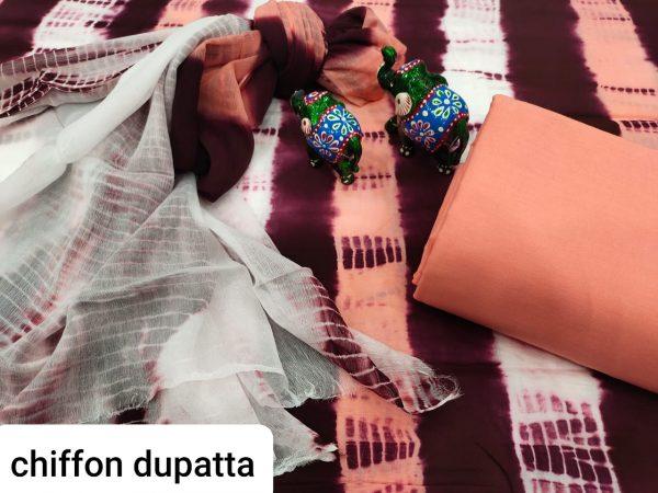 Apricot And White pure chiffon chunni cotton salwar suit