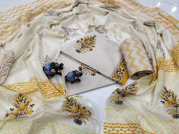 White floral print Cotton salwar kameez set with mulmul dupatta