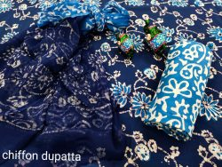 Blue cotton suit material with chiffon dupatta