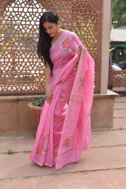 Pink chanderi cotton silk saree
