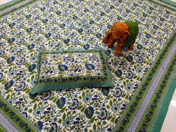 Jungle green and white pure cotton bedsheet with 2 pillow cover