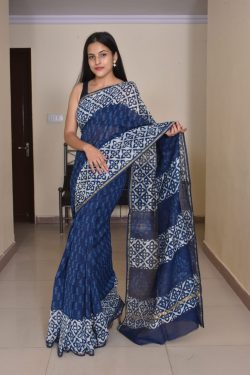 Navy blue soft cotton silk sarees wholesale