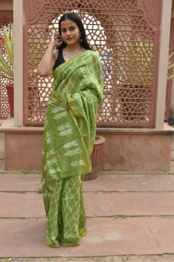 Olive Drab printed chanderi silk saree