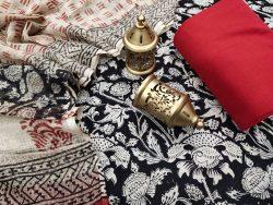 Carnine and black cotton ethnic wear salwar Kameez suits online
