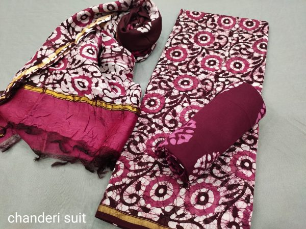 Rouge and Burgundy chanderi suit with dupatta