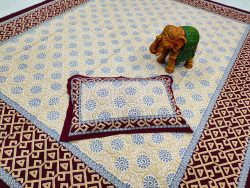 Maroon bedsheet with pillow cover