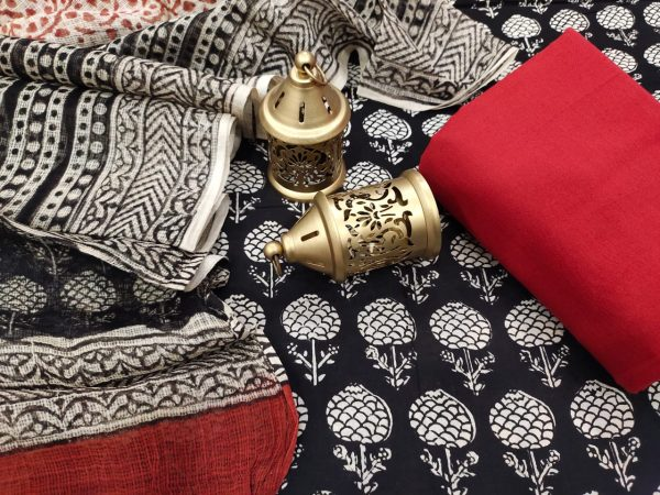 Black and crimson cotton suit with kota doria dupatta set